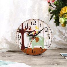 ซื้อ Antique Vintage Style Wooden Round Wall Clock 1 Intl ออนไลน์