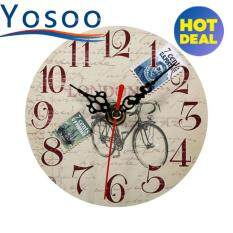 Antique Vintage Style Wooden Round Wall Clock 4 Intl ใน จีน