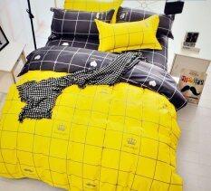 ราคา Apk ผ้าปูที่นอน 6 ฟุต 5 ชิ้น ผ้านวม เกรด A ทูโทนลายตาราง สีเหลือง Apk