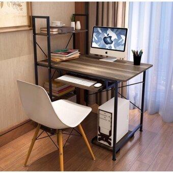 Asia โต๊ะวางคอมพิวเตอร์ ขนาด 1เมตร รุ่น BP217 Loft Style โครงดำ-วอลนัท