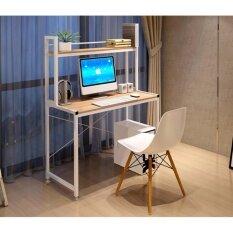 โปรโมชั่น Asia โต๊ะทำงาน ขนาด 1 เมตร มีต่อบน รุ่นX2 โครงขาว ไม้เมเปิ้ล