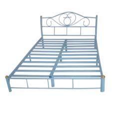 Asia เตียงเหล็ก 6ฟุต ขา2นิ้ว รุ่นโลตัส สีฟ้า ไทย