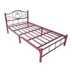 ราคา Asia เตียงเหล็ก3 5ฟุต ขา2นิ้ว รุ่นโลตัส สีชมพู Asia
