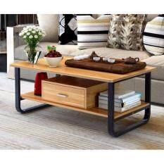 ราคา Asia โต๊ะกลางโซฟา โต๊ะกาแฟ ขนาด 1 เมตร รุ่นมีลิ้นชัก โครงเหล็กดำ สี Maple