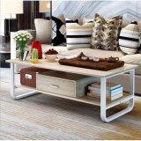 ราคา Asia โต๊ะกลางโซฟา โต๊ะกาแฟ ขนาด 1 เมตร รุ่นมีลิ้นชัก โครงเหล็กขาว สี Light Maple เป็นต้นฉบับ