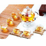 ส่วนลด Audew Borosilicate Glass Tea Pot Set Infuser Teapot Warmer 6 Double Wall Tea Cups Intl จีน