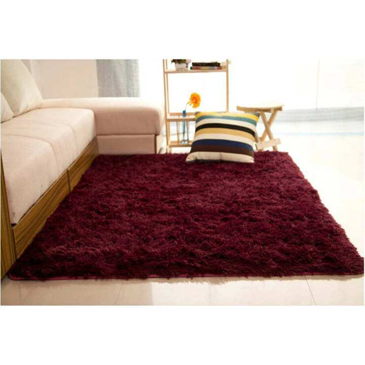 Audew Shaggy Anti-skid Carpets Rugs Floor Mat/Cover 80x120cm (Claret-Red