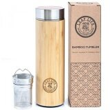 ราคา ราคาถูกที่สุด Bamboo Tumbler With Tea Infuser Strainer By Leaflife 17Oz Stainless Steel Water Bottle Vacuum Insulated Coffee Travel Mug Bpa Free Cup Mesh Filter For Brewing Loose Leaf Fruit Infused Intl