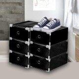 ส่วนลด Bh กล่องDiy สำหรับจัดเก็บรองเท้า 6กล่อง Set สีดำล้วน