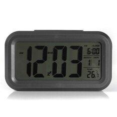 ราคา Black Digital Lcd Alarm Clock Time Calendar Thermometer Snooze Backlight ใหม่