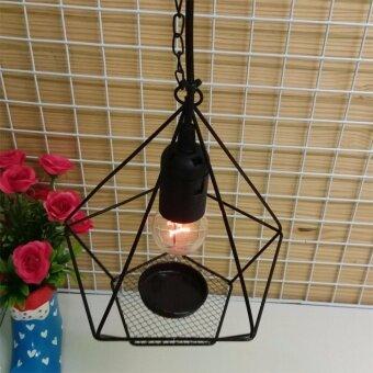 โคมไฟแขวนเพดาน สไตล์วินเทจ ลอฟท์ รุ่น Black Pentagon : ฺBlack