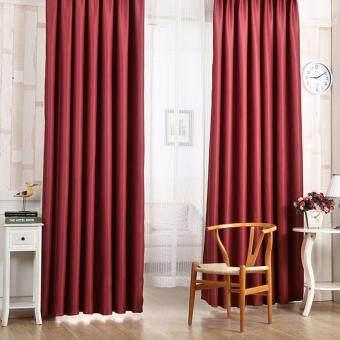 ผ้ากันความร้อนหน้าต่างแบบแข็ง สีไวน์แดง