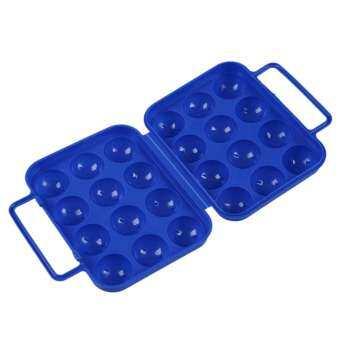 สีฟ้าไข่พลาสติกแบบพับได้พกพากล่อง (12 ฟอง) สำหรับปิกนิกคอนเทนเนอร์ (นานาชาติ)