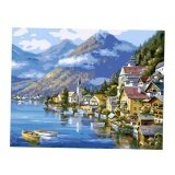 Bolehdeals Frameless Diy Painting By Numbers Canvas Painting Art Picture Beach Town Intl ใน จีน