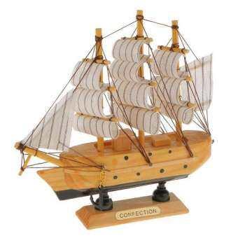 BolehDeals เรือใบเมดิเตอร์เรเนียนตกแต่งงานฝีมือเรือไม้จริง - นานาชาติ-