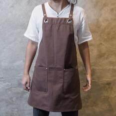 โปรโมชั่น Brown Canvas Apron Onme Apron ผ้ากันเปื้อนแคนวาส ผ้ากันเปื้อนยีนส์ ถูก