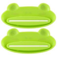 Bu 2x สีเขียวกบแมวยาสีฟันสำหรับเด็กเครื่องจ่ายสำหรับห้องน้ำสำหรับคริสต์มาสของขวัญ - Intl.