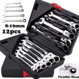 ขาย ซื้อ Bulk 12Pcs Flexible Combination Spanners Ratchet Wrench Tool Set Kit 8 19Mm Color Black Intl จีน