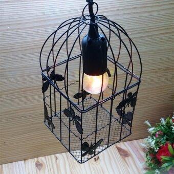 โคมไฟแขวนเพดาน สไตล์วินเทจ ลอฟท์ รุ่น Butterfly Black cage : Black
