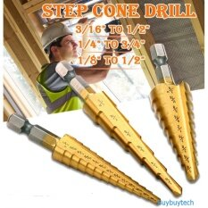 ราคา Buybuytech ดอกสว่าน ดอกเจดีย์ 3 ชิ้น Large Hss Steel Step Cone Drill Titanium Bit Set Hole 3 12 4 12 4 20Mm กรุงเทพมหานคร