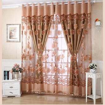 Buytra Tulle Voile ผ้าม่านหน้าต่างผ้าม่านดอกไม้ม่านแขวน Grommet กาแฟ