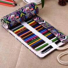 ขาย ซื้อ ออนไลน์ Canvas Wrap Roll Up Pencil Bag Pen Case Color 36 Holes Intl