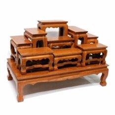 ขาย ซื้อ ออนไลน์ Cara Wood โต๊ะหมู่บูชาวางพระ ไม้สักทอง หมู่ 9 หน้า 4 สีธรรมชาติ