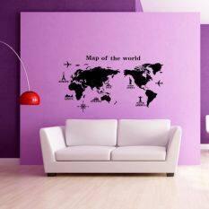 ซื้อ Catwalk World Map Removable Pvc Vinyl Art Room Wall Sticker Decal Mural Home Decor Diy Black ใหม่