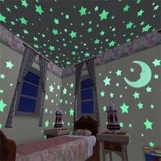 เพดานผนังตกแต่งห้องนอนโกลว์ 100 ชิ้นดาว + 1 ชิ้นดวงจันทร์ในสติ๊กเกอร์พลาสติกดาวมืด-นานาชาติ.