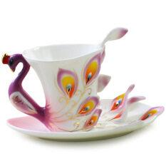 ขาย Ceramic Tea Cup Set European Peacock Coffee Cup 180Ml Purple จีน ถูก