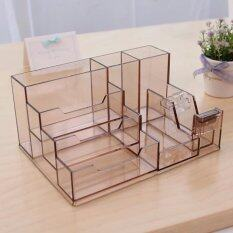 ทบทวน Chanee กล่องเก็บของบนโต๊ะทำงาน กล่องใส่นามบัตร 7 ช่อง Tan