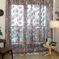 ราคา Chic Style Room Floral Tulle Voile Window Curtain Wine 100 250Cm Intl ออนไลน์ จีน