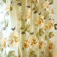 ส่วนลด เก๋สไตล์ผ้าม่านหน้าต่างห้องป่านดอกไม้สีเหลือง 100ซม X 250ซม Vakind จีน