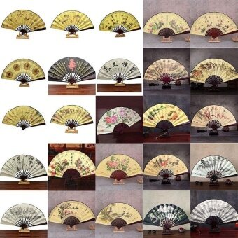 Chinese Folding Fan Painting Pattern Classic Polyester Fan Style Random - intl