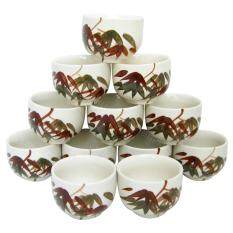 ส่วนลด ชุดจอกน้ำชา แก้วน้ำชา เซรามิค ลายไผ่ 12ชิ้น