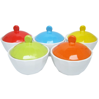 ชุดถ้วยมีฝาปิด(เซรามิก) กว้าง4นิ้ว 5สี