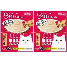 ซื้อ Ciao Chu Ru ขนมแมวเลีย รสปลาทูน่าเนื้อขาว รสหอยเชลล์ ขนาด 14 กรัม X 10 ซอง จำนวน 2 แพ็ค Ciao