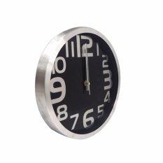 ซื้อ Clock Premium นาฬิกาแขวน นาฬิกาบ้าน นาฬิกาสำนักงาน นาฬิกาแขวนผนัง ขนาด12 นิ้ว สีเงิน หน้าปัดดำอักษรเงิน Smdit