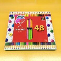 ทบทวน Colleen คลอรีน ดินสอไม้ สองด้าน 48สี 24ด้าม