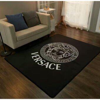 พรม พรมปูพื้น Comfly Carpet Anti-Slip Home Decoration 150x190cm - VERSACE BLACK