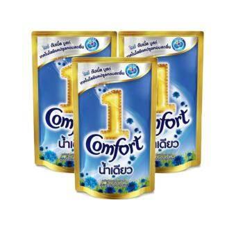 comfort คอมฟอร์ท อัลตร้าน้ำเดียว น้ำยาปรับผ้านุ่ม สีฟ้า 330 มล.(แพ็ค 3 ถุง)