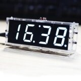 ราคา Compact 4 Digit Diy Digital Led Clock Kit Light Control Temperature Date Time Display With Transparent Case Intl ใหม่