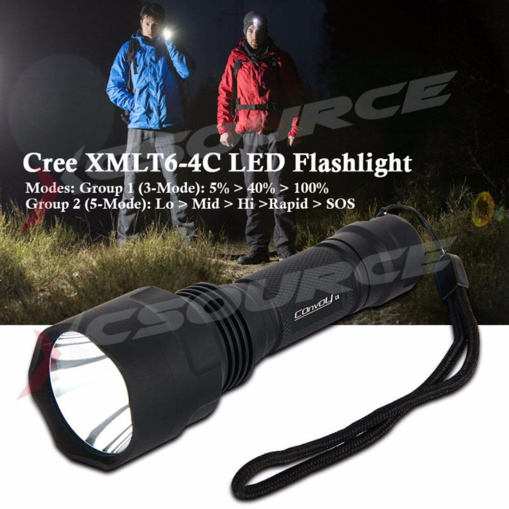 Convoy ไฟฉาย C8 Cree XM-L2 U2-1A 3/5-Mode EDC AK47 LED Flashlight torche lantern