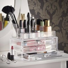 ซื้อ Cosmetic Makeup Organizer กล่องเก็บเครื่องสำอาง กล่องจัดระเบียบเครื่องสำอาง เครื่องประดับ ชั้นวางเครื่องสำอางอเนกประสงค์ ช่องเก็บเยอะ มีลิ้นชัก จุของได้มาก และเป็นระเบียบ Rainbeaushop