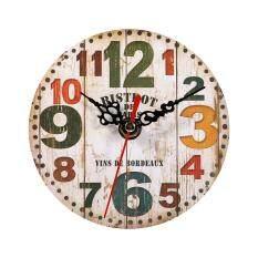 ส่วนลด Creative Antique Wall Clock Vintage Style Wooden Round Clocks Home Office Decoration 3 Intl จีน