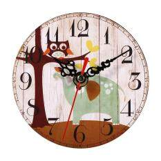 ขาย ซื้อ Creative Vintage Wooden Round Wall Clock Home Office Decoration 1 Intl จีน
