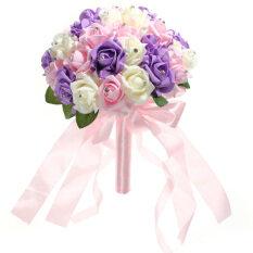 ราคา คริสตัลเวดดิ้งคู่บ่าวสาวช่อดอกไม้กุหลาบเพื่อนเจ้าสาวโฟมN งาช้าง สีชมพู สีม่วง เป็นต้นฉบับ