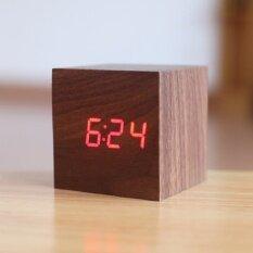 ขาย Cube Led นาฬิกาปลุกไม้ Despertador อุณหภูมิเสียงการควบคุมการแสดงผล Led อิเล็กทรอนิกส์ Desktop นาฬิกาตั้งโต๊ะดิจิตอล Unbranded Generic ถูก