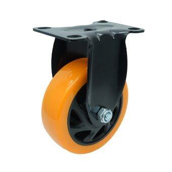 CVN ลูกล้อ PU ขนาด 4 นิ้ว ขาโครเมียมสีดำ ชุบซิ้งค์ แบบแป้นตาย ขนาด 94x65 มม (สีส้ม)