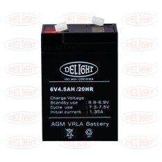 ขาย Delight แบตเตอรี่สำหรับไฟฉุกเฉิน 6โวลท์4 5แอมป์ Dl6V 4 5Ah สีดำ Delight เป็นต้นฉบับ